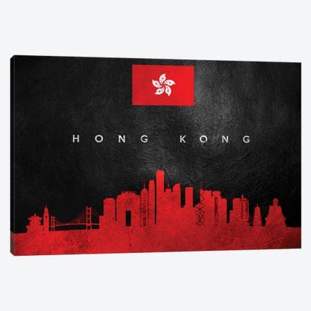 Hong Kong Skyline Canvas Print #ABV226} by Adrian Baldovino Canvas Wall Art