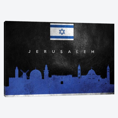 Jerusalem Israel Skyline Canvas Print #ABV232} by Adrian Baldovino Canvas Wall Art
