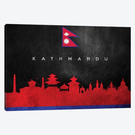 Kathmandu Nepal Skyline II Canvas Print #ABV236} by Adrian Baldovino Art Print