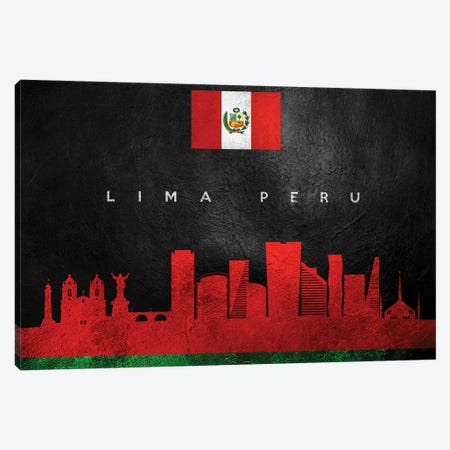 Lima Peru Skyline Canvas Print #ABV245} by Adrian Baldovino Canvas Art