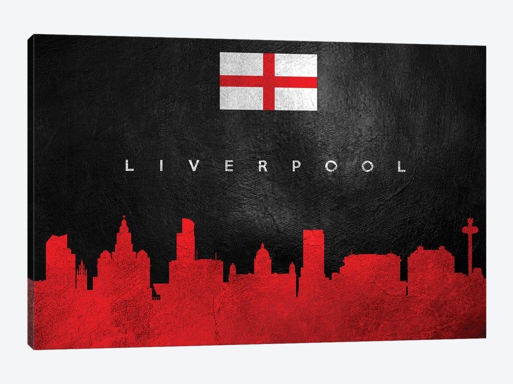 Liverpool England Skyline by Adrian Baldovino 1-piece Canvas Art Print