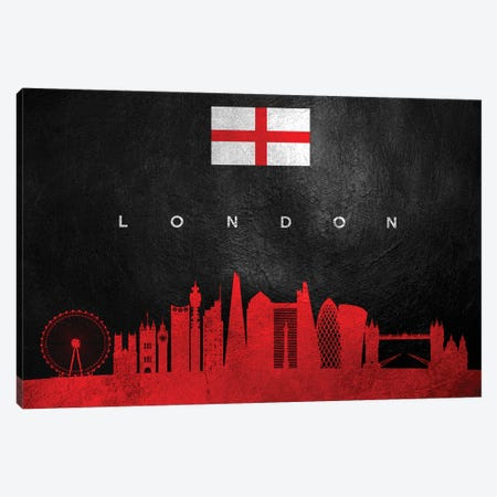 London England Skyline Canvas Print #ABV249} by Adrian Baldovino Art Print
