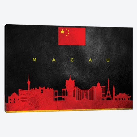 Macau China Skyline Canvas Print #ABV253} by Adrian Baldovino Canvas Wall Art