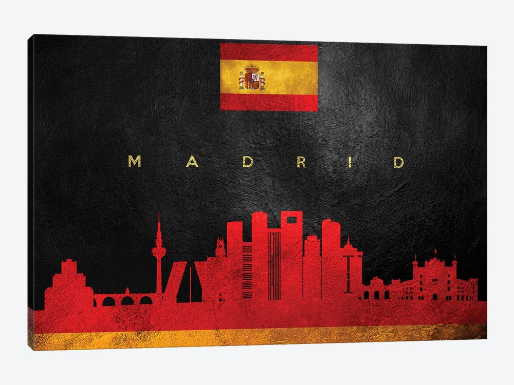 Madrid Spain Skyline by Adrian Baldovino 1-piece Canvas Art