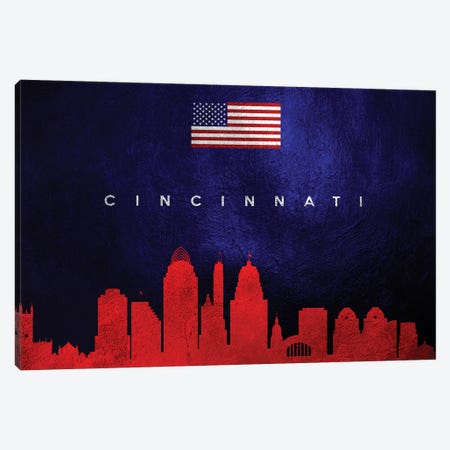 Cincinnati Ohio Skyline Canvas Print #ABV25} by Adrian Baldovino Art Print