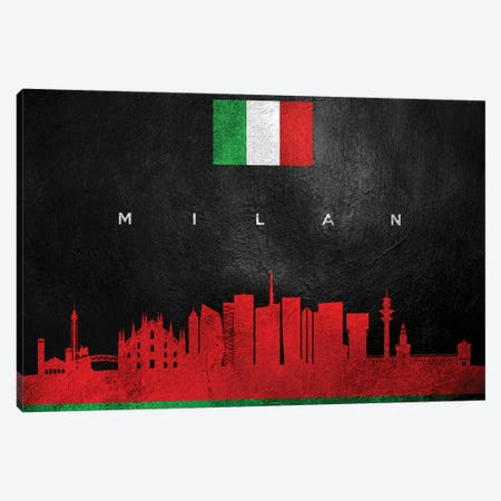 Milan Italy Skyline Canvas Print #ABV267} by Adrian Baldovino Canvas Artwork