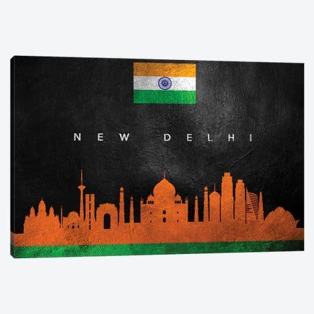 New Delhi India Skyline Canvas Print #ABV276} by Adrian Baldovino Art Print