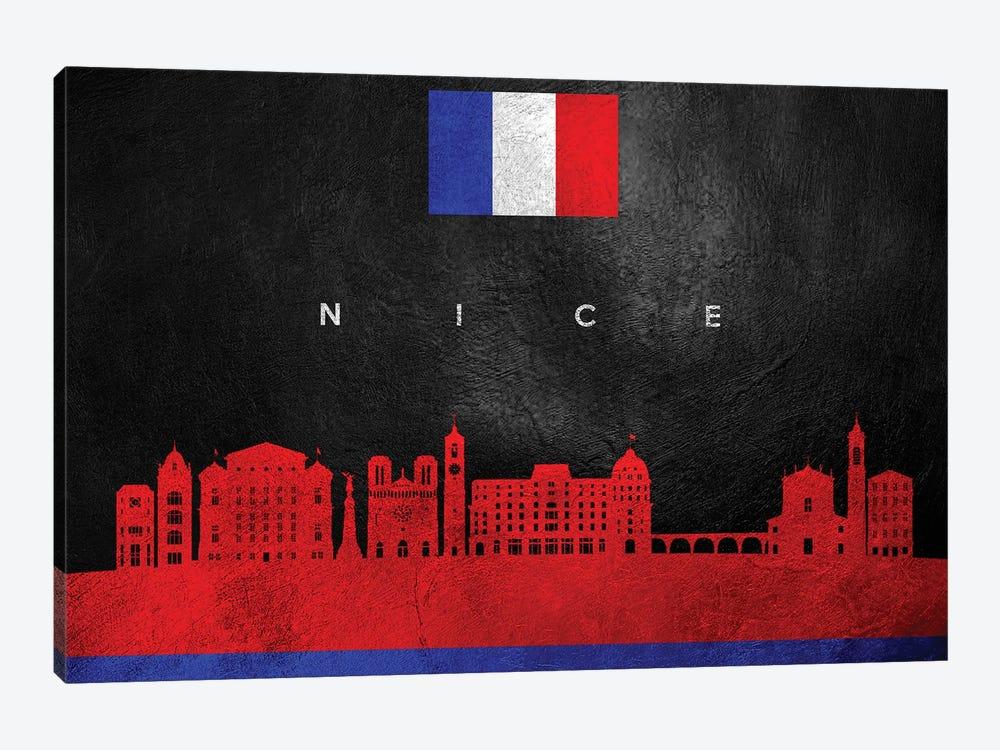 Nice France Skyline by Adrian Baldovino 1-piece Canvas Artwork