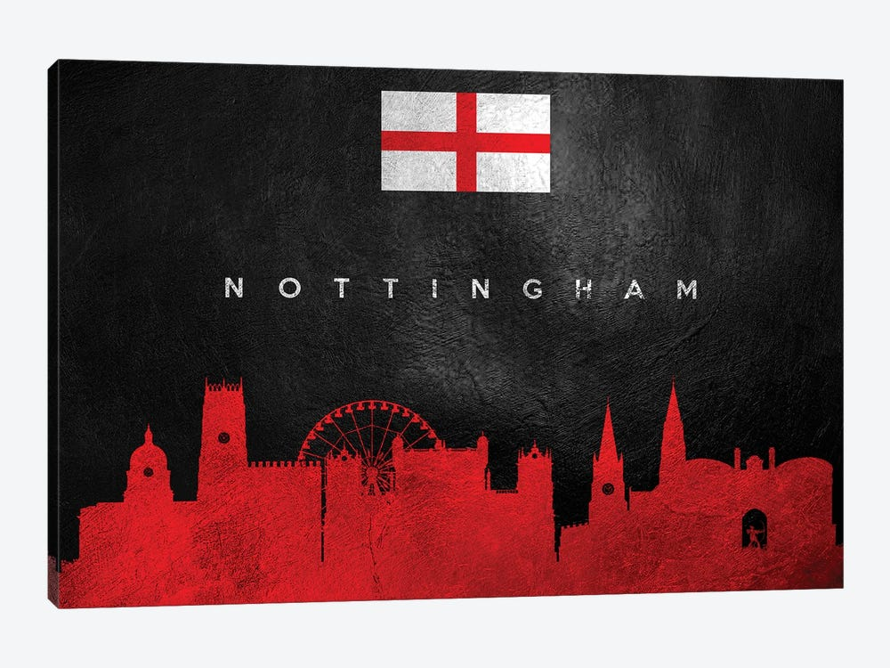 Nottingham England Skyline by Adrian Baldovino 1-piece Art Print