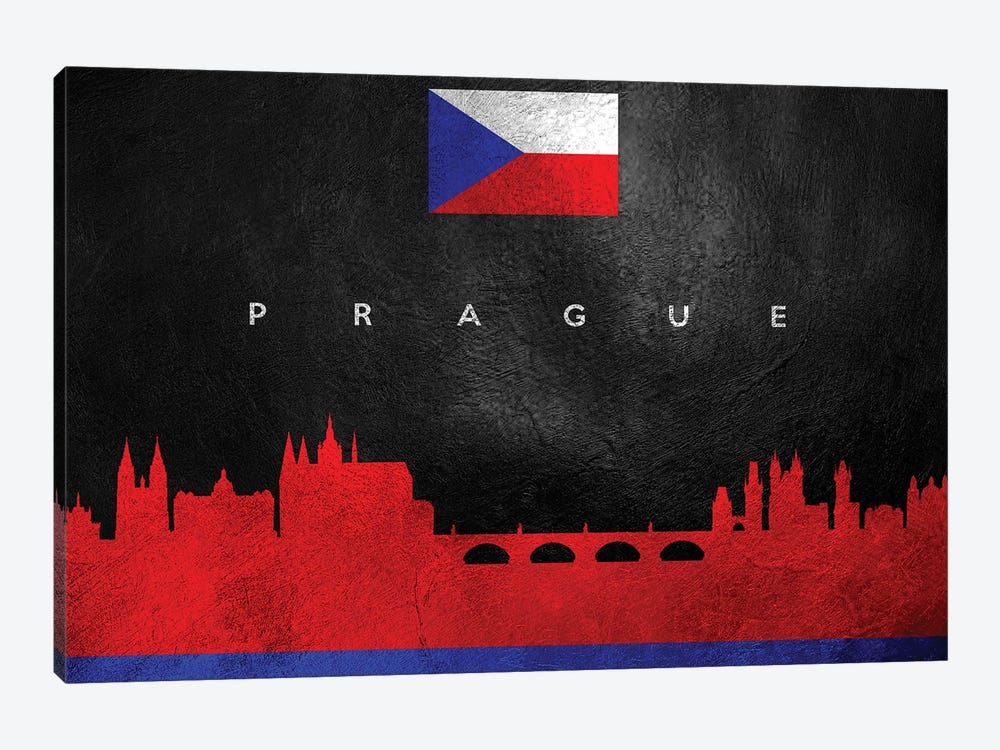 Prague Czech Republic Skyline by Adrian Baldovino 1-piece Canvas Art
