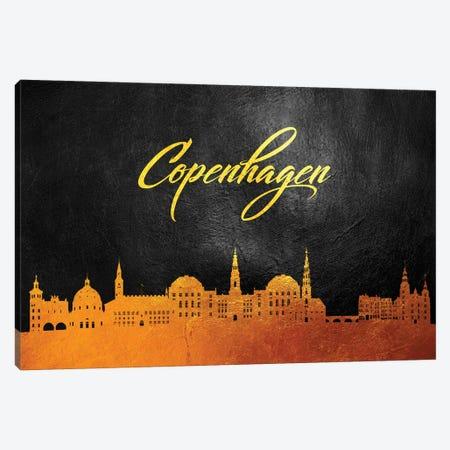 Copenhagen Denmark Gold Skyline Canvas Print #ABV28} by Adrian Baldovino Canvas Artwork