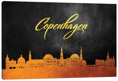 Copenhagen Denmark Gold Skyline Canvas Art Print