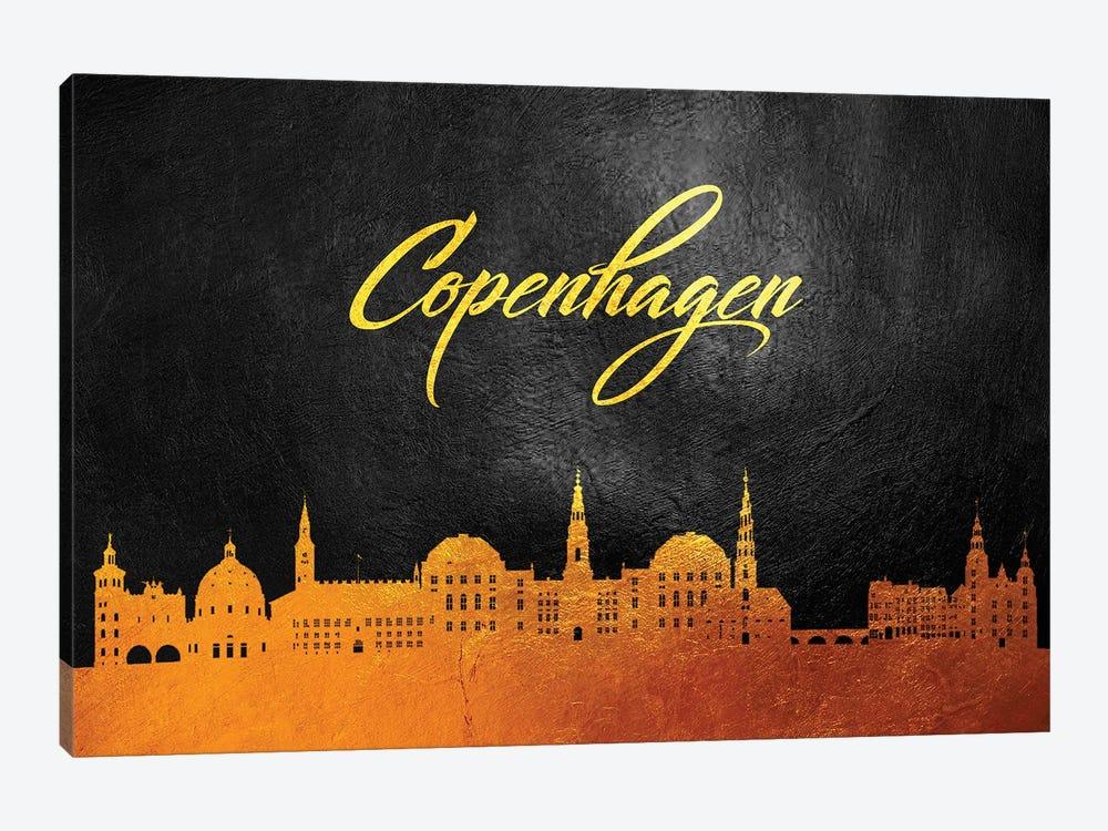 Copenhagen Denmark Gold Skyline by Adrian Baldovino 1-piece Canvas Print