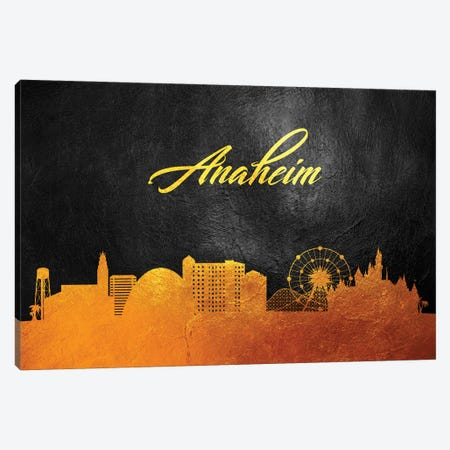 Anaheim California Gold Skyline Canvas Print #ABV2} by Adrian Baldovino Canvas Print