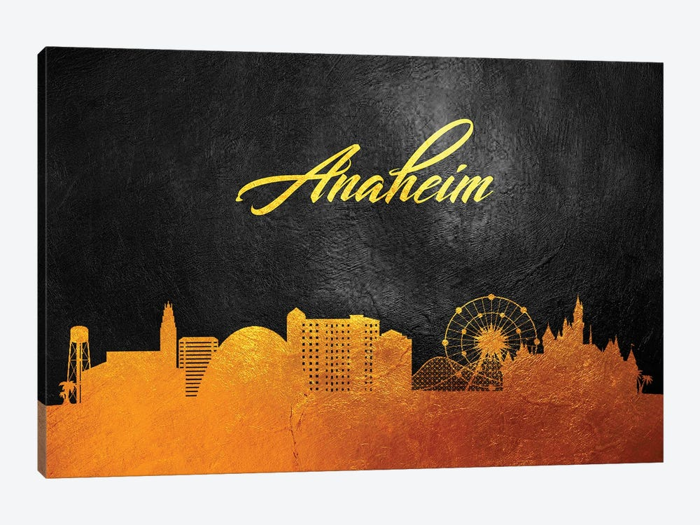 Anaheim California Gold Skyline by Adrian Baldovino 1-piece Canvas Art