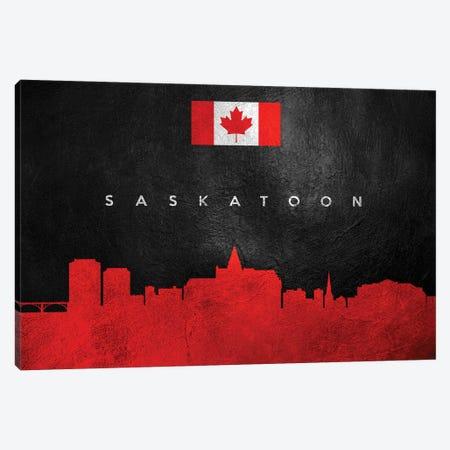 Saskatoon Canada Skyline Canvas Print #ABV300} by Adrian Baldovino Canvas Wall Art