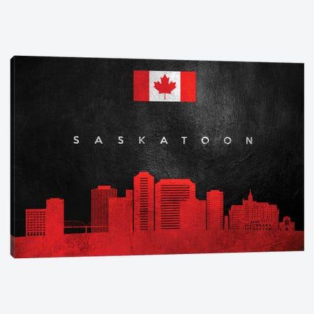Saskatoon Canada Skyline II Canvas Print #ABV301} by Adrian Baldovino Canvas Art
