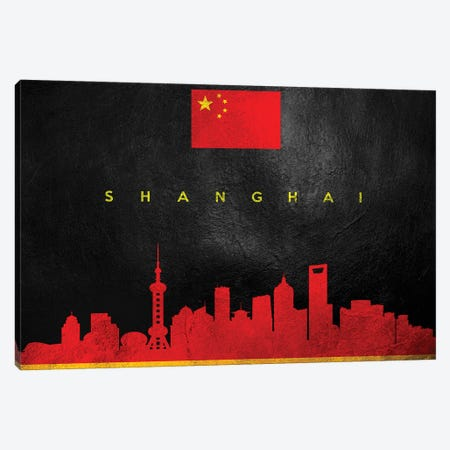 Shanghai China Skyline II Canvas Print #ABV307} by Adrian Baldovino Canvas Art Print