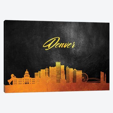 Denver Colorado Gold Skyline Canvas Print #ABV30} by Adrian Baldovino Canvas Art Print