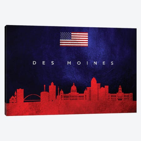 Des Moines Iowa Skyline Canvas Print #ABV31} by Adrian Baldovino Canvas Print