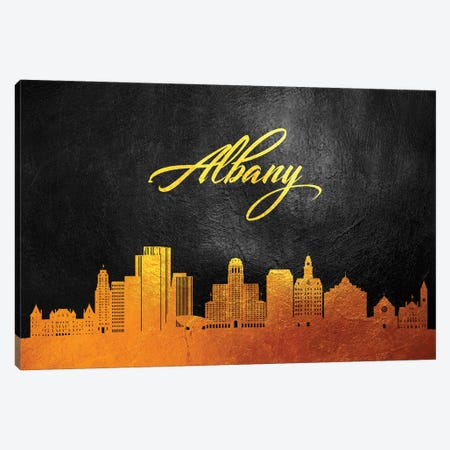Albany New York Gold Skyline Canvas Print #ABV329} by Adrian Baldovino Canvas Artwork