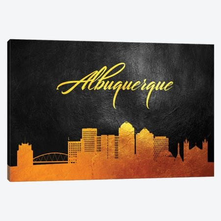 Albuquerque New Mexico Gold Skyline Canvas Print #ABV330} by Adrian Baldovino Art Print