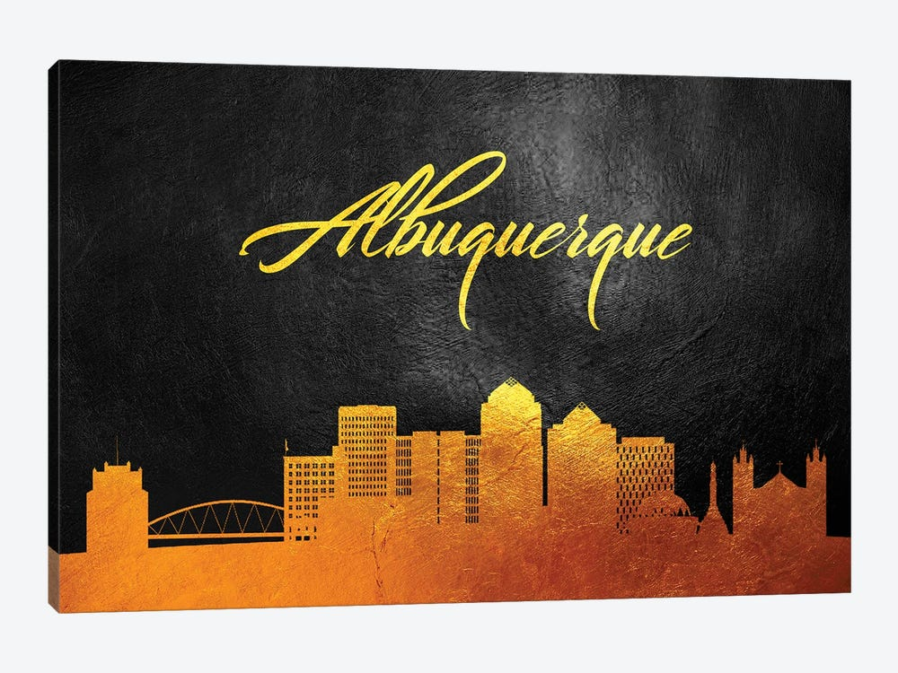 Albuquerque New Mexico Gold Skyline by Adrian Baldovino 1-piece Canvas Print
