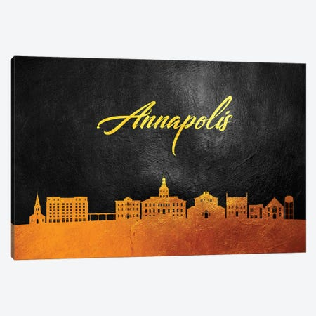 Annapolis Maryland Gold Skyline Canvas Print #ABV331} by Adrian Baldovino Art Print