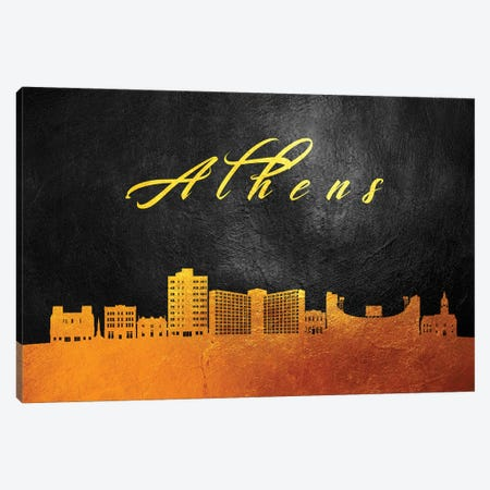 Athens Georgia Gold Skyline Canvas Print #ABV333} by Adrian Baldovino Canvas Art Print