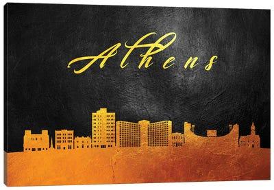 Athens Georgia Gold Skyline Canvas Art Print