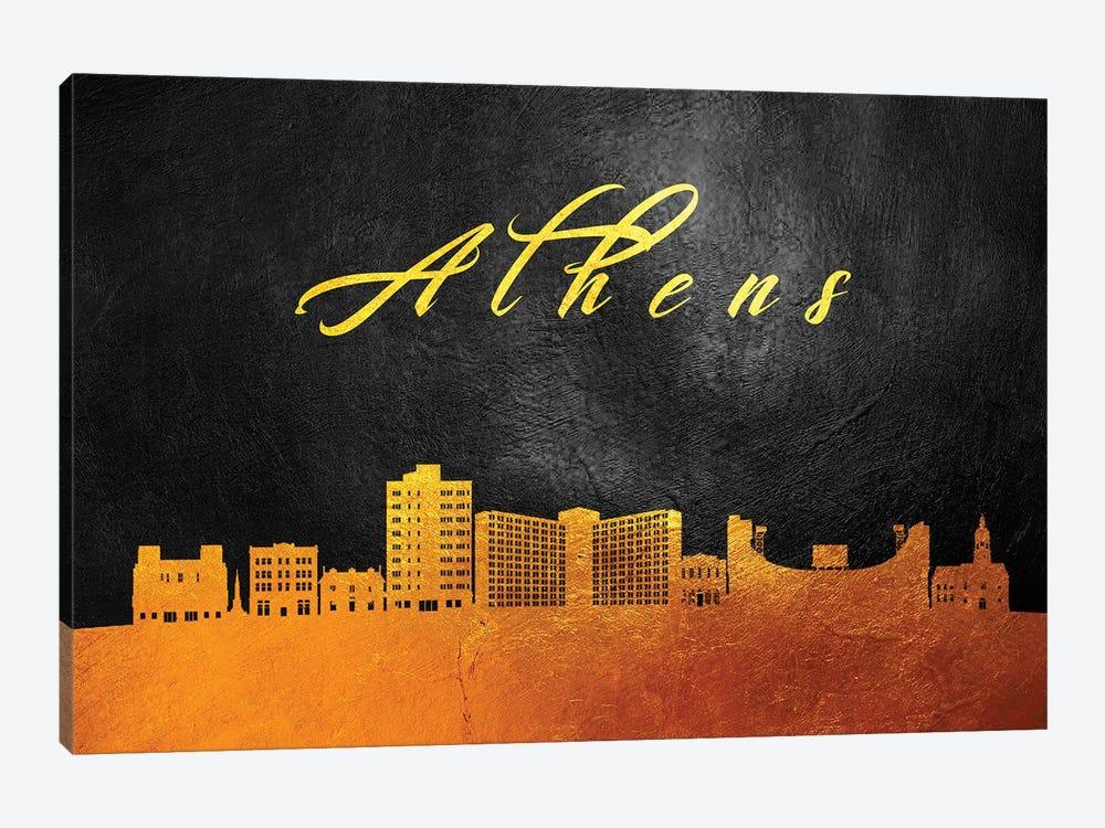 Athens Georgia Gold Skyline by Adrian Baldovino 1-piece Canvas Wall Art