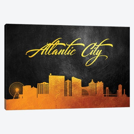 Atlantic City New Jersey Gold Skyline Canvas Print #ABV334} by Adrian Baldovino Canvas Artwork