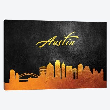 Austin Texas Gold Skyline Canvas Print #ABV335} by Adrian Baldovino Canvas Art