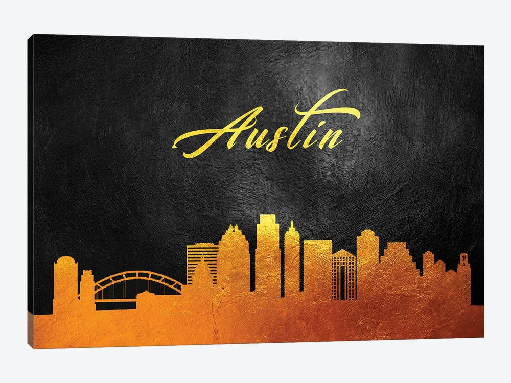 Austin Texas Gold Skyline by Adrian Baldovino 1-piece Canvas Art