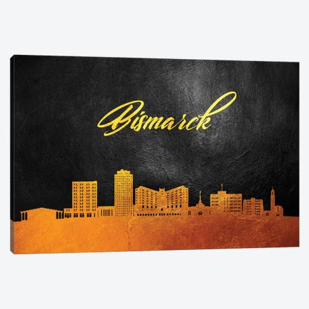 Bismarck North Dakota Gold Skyline Canvas Print #ABV336} by Adrian Baldovino Canvas Wall Art