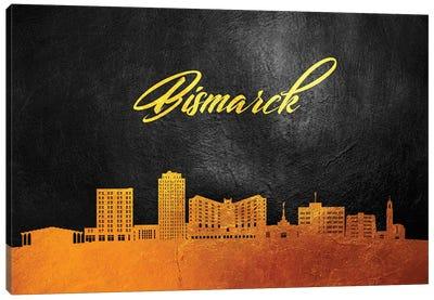 Bismarck North Dakota Gold Skyline Canvas Art Print