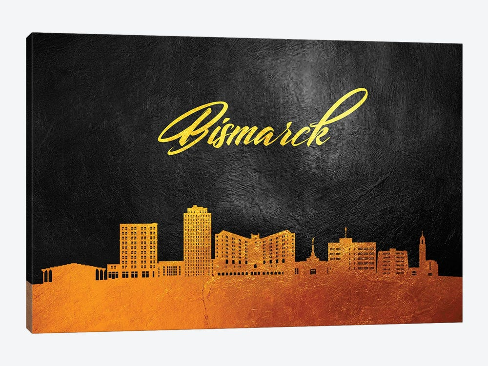 Bismarck North Dakota Gold Skyline by Adrian Baldovino 1-piece Canvas Print