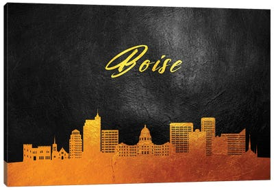 Boise Idaho Gold Skyline Canvas Art Print