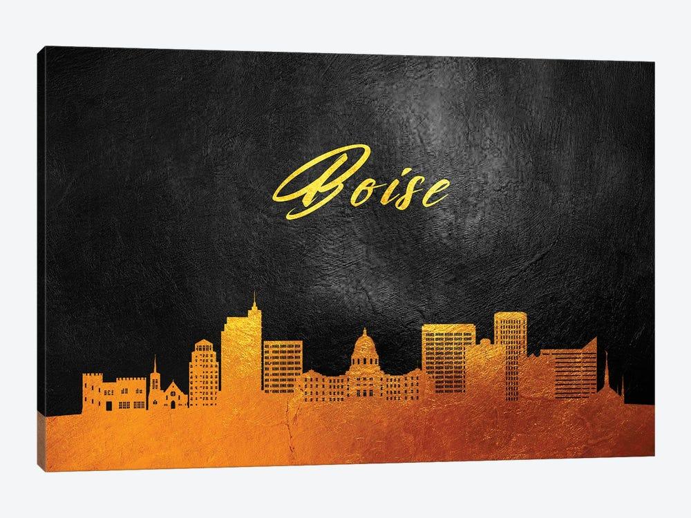 Boise Idaho Gold Skyline by Adrian Baldovino 1-piece Canvas Art