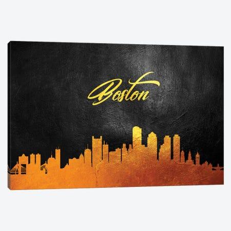 Boston Massachusetts Gold Skyline Canvas Print #ABV338} by Adrian Baldovino Canvas Print