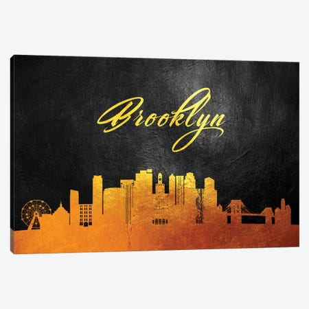 Brooklyn New York Gold Skyline Canvas Print #ABV339} by Adrian Baldovino Art Print