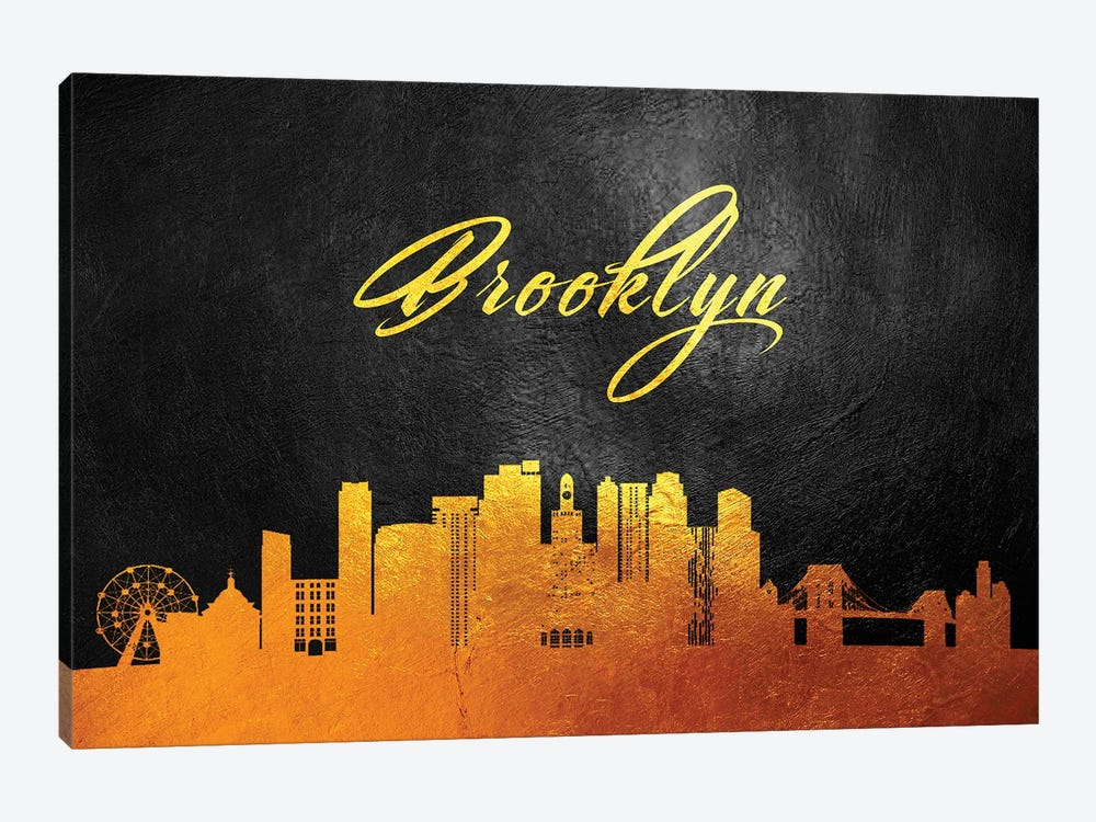 Brooklyn New York Gold Skyline by Adrian Baldovino 1-piece Canvas Art