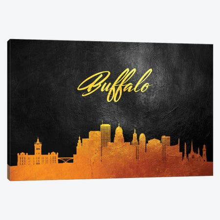Buffalo New York Gold Skyline Canvas Print #ABV340} by Adrian Baldovino Canvas Wall Art