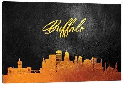 Buffalo New York Gold Skyline Canvas Art Print