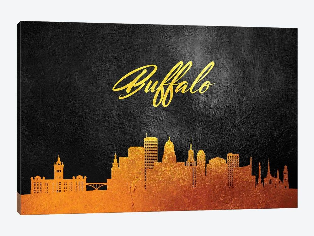 Buffalo New York Gold Skyline by Adrian Baldovino 1-piece Canvas Wall Art