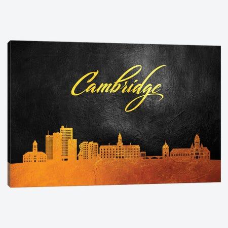 Cambridge Massachusetts Gold Skyline Canvas Print #ABV341} by Adrian Baldovino Canvas Wall Art