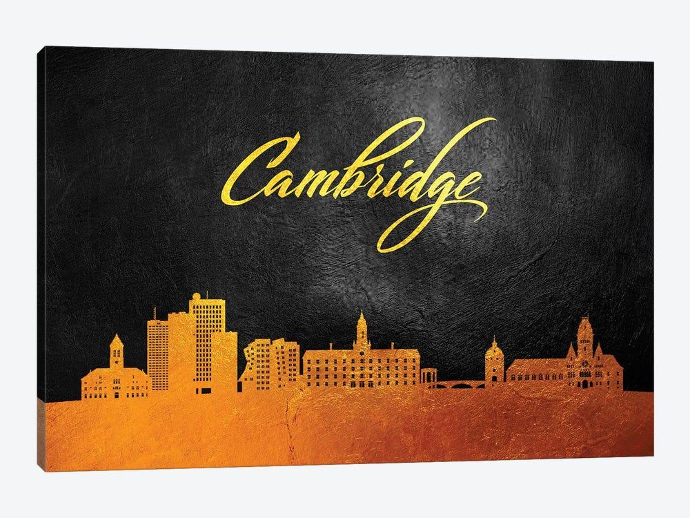 Cambridge Massachusetts Gold Skyline by Adrian Baldovino 1-piece Canvas Print