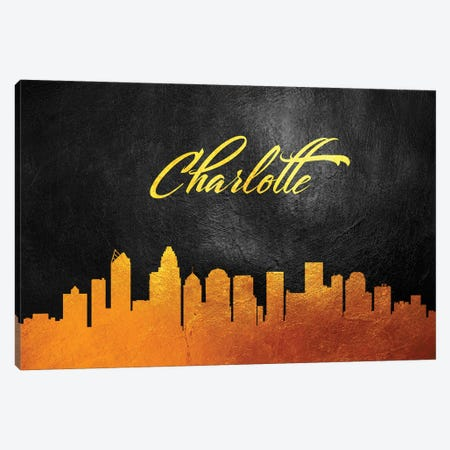 Charlotte North Carolina Gold Skyline 3-Piece Canvas #ABV342} by Adrian Baldovino Canvas Artwork