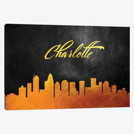 Charlotte North Carolina Gold Skyline Canvas Print #ABV342} by Adrian Baldovino Canvas Artwork