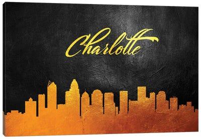 Charlotte North Carolina Gold Skyline Canvas Art Print